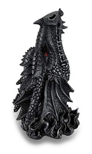 (Metallic Black Gothic Red Eyed Dragon Incense Burner Box Statue)