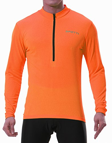 Spotti Men's Long Sleeve Cycling Jersey, Bike Biking Shirt- Breathable and Quick Dry (Chest 36-38 - Medium, Orange)