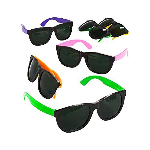 Adorox 12pcs Neon Sunglasses Plastic Colorful Toy Party Favor Set Birthday ()
