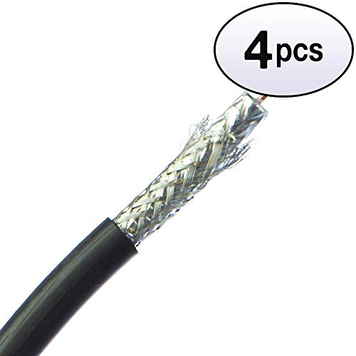 GOWOS (4 Pack) Bulk RG6 Coaxial Cable, Black, 18 AWG, Solid Core, Spool, 1000 Feet ()