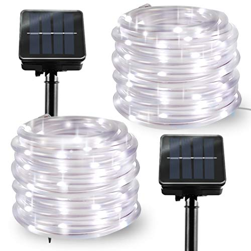 2 Pack Solar Rope Lights Outdoor LED String Lights Lights for Garden Patio Party Decoration White 23FTx2
