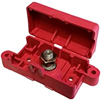 Terminal Block With Snap Lid - 3/8 Stud - Red