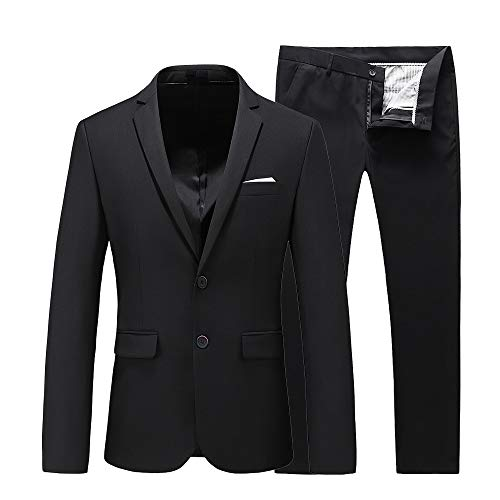 UNINUKOO Mens Two Piece Groom Wedding Formal Dinner Dance Party Skinny Suit US Size 44 (Label Size 6XL) Black ()