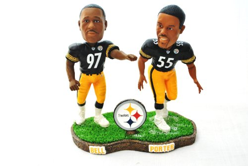 Pittsburgh Steelers rare NFL Duel Player (Joey Porter #55 and Kendrell Bell#97)duel base action Bobble Head by forever