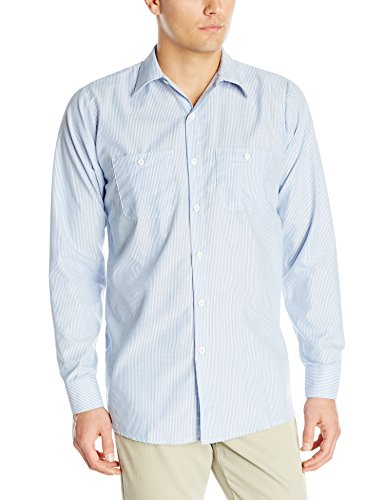 (Red Kap Men's Industrial Stripe Work Shirt, Blue/White Stripe, Small)