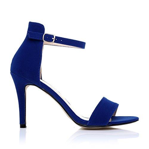 Caviglia Alto Sandali Suede PAM alla con blu Mezzanotte Tacco Suede Blu Mezzanotte Cinturino EYxxq4d
