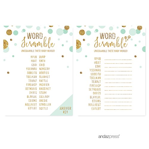 Andaz Press Mint Green Gold Glitter Boy Baby Shower Party Collection, Games, Activities, Decorations, Word Scramble Game Cards, 20-pack]()