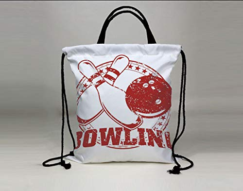 3D Print Drawstring Bag String Backpack,Bowling Party Decorations,Grunge Circle of Stars Vintage Distressed Emblem Design Typography,Red White,for Travel Gym School (Vintage Bowling Bags)