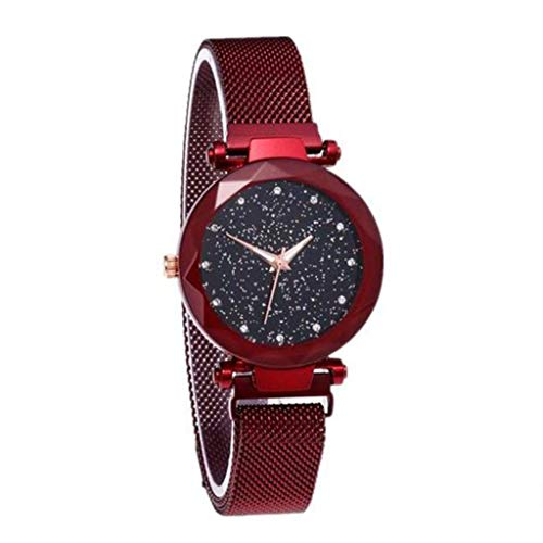 Women's Watch, Nordic Female Student Starry Face Lazy Fat Watch Magnet Net with Waterproof Quartz Watch Watch Cutting Dial Sky Star Knitting Strap Bracelet Watch Magnet Watch,Red ()