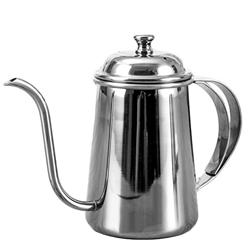 650ml Stylish Elegant Stainless Steel Gooseneck Spout Kettle Long Mouth Drip Coffee Tea Kettle Teapot for Home Office Outdoors Silver by Gosear