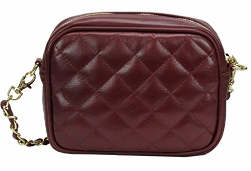 Bozana Bag weinrot Italy Steppleder Designer Clutch Umhängetasche Damen Handtasche Schultertasche Tasche Leder Neu