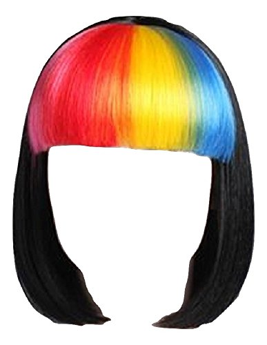(Forum Multicolored Rainbow Raver Costume Black Bob Wig)