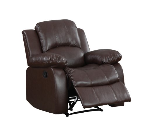 Homelegance Upholstered Recliner Chair, Warm Brown (Brown Leather Motion Home Theater)
