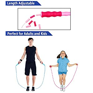 OHYAIAYN Soft Beaded Jump Rope, Adjustable Tangle – Free Segmented Fitness Skipping Rope for Men, Women and Kids Keeping Fit, Training, Workout and Weight Loss – 9 Feet
