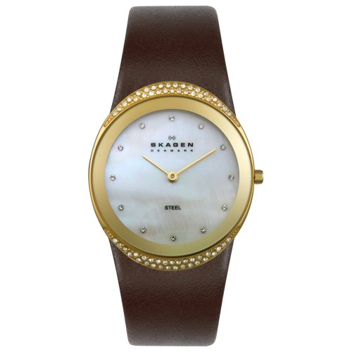 (Skagen Women's 452LGLD Crystal Accented Brown Leather Watch)