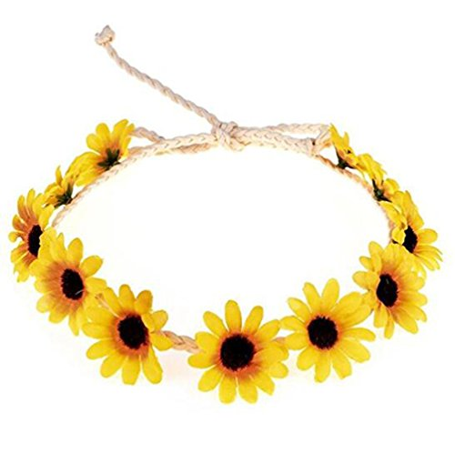 1Pcs Headband Sunflower Crown Hair Wreath Bridal Headpiece Beach Festivals Hair Band For Girls and Lady(Yellow)