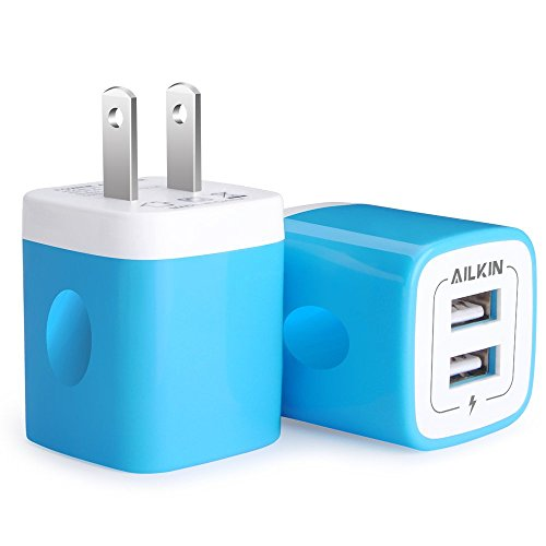 USB Charging Block, Ailkin Dual Port Travel Home Fast Charging Base Plug Wall Brick Box Block Charger Adapter Replacement for USB Wall Smartphone, iPhone, Samsung, Huawei, Kindle Cube Base Charge (Blue Usb Charger)