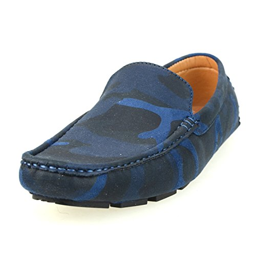 Lucius An Mens Loafer Shoes Slip On Plain Teen Opera Shoes Rijden Loafers Bit 1770 Camouflage Navy