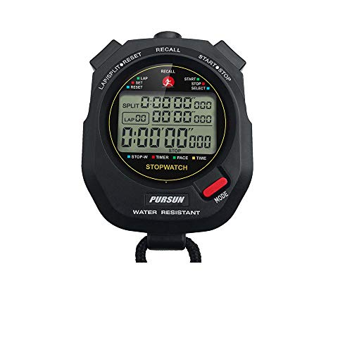 QWM Professional Timer Stopwatch, Digital Sports Stopwatch with Countdown Timer, 100 Lap Memory, 0.001 Second Timing…