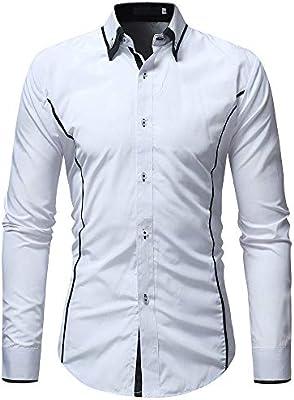 YFSLC-Studio Camisa De Manga Larga Hombre,Hombres Camiseta Blanca Pura Sólido Moda Casual Conjunto Camisa Manga Larga Camisetas Hawaianas Cómodos Slim Fit De Manga Larga,XL: Amazon.es: Deportes y aire libre