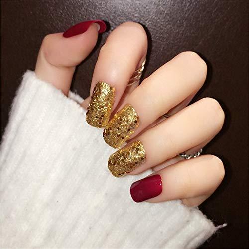 24Pcs Blue,Black,Red Matte Golden Glitter Paillette False Nails Tip Frosted Designed Square Fake Nails Red Mix -