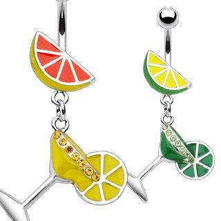 piercing nombril verre à cocktail avec citron vert
