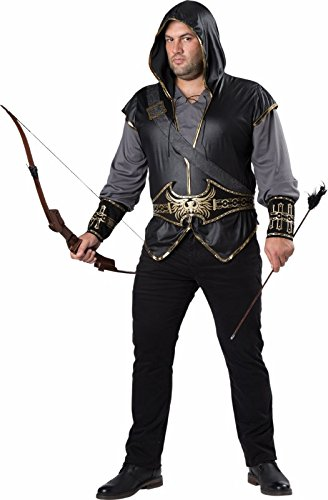 Fun World Men's Plus-Size Hooded Huntsman Costume, Grey/Black 3XL