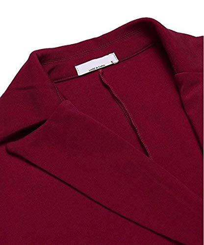 Ufficio Blazer Autunno Di Bavero Colore Donna Pieghe Fit Button Tailleur Giacca Slim Moda Lunga Eleganti Con Mode Casual Marca Cappotto Puro Giacche Business Primaverile Da Manica Winered w0OqPw