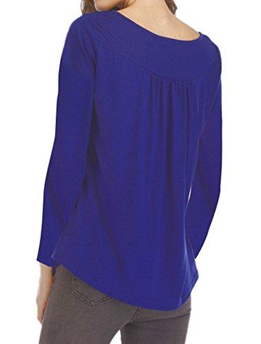 Fashion Blouse Couleur Shirts Longues T Automne Jumpers Tops Hauts Tees Manches Plier Chemisiers Bleue et Printemps Femmes xwfqOZOv