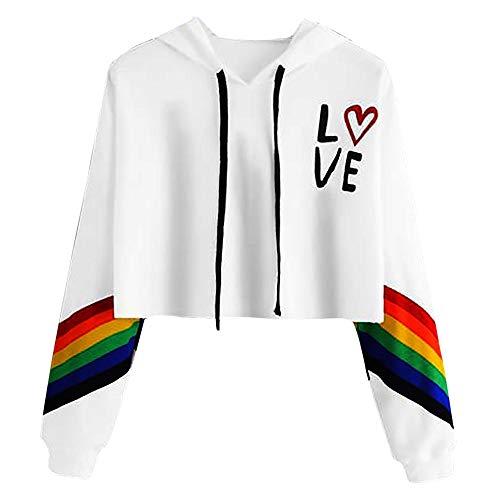 URIBAKE Women Hooded Crop Tops Long Sleeve Rainbow Letter Print Trendy Pullover Hoodie Sweatshirt Blouse Tops -