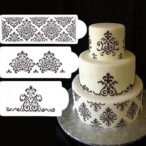 3Pcs Flower Lace Stencil Mold Fondant Side Baking Cookie Cake Decorating Tool Baking Tools & Accessories at amazon