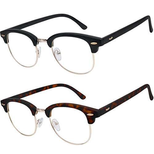 READING GLASSES Set of 2 Fashion Clubmaster Style Readers Quality Spring Hinged Glasses for Reading for Men and Women - Clubmaster Prescription