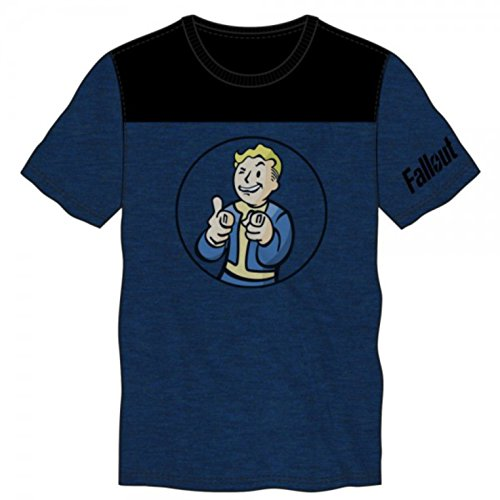 Fallout Mens Blue/Black Yoke Tee (Fallout T Shirts)