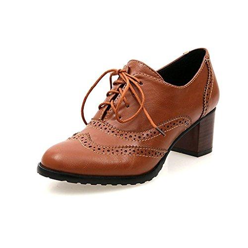Bdawin Mujer Zapatos de Cordones Brogue Vintage PU Cuero Talón Mediados Wingtip Oxford Zapatos de Vestir Marrón