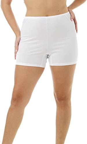 Underworks Cotton Trunk Leg Pants 5 Inch Inseam 3 Pack White S