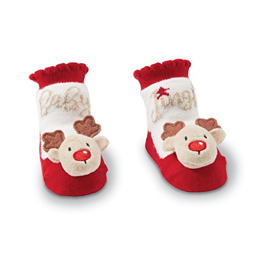 Mud Pie Christmas Boy Girl Rattle Toe Socks 0-12 mo - Reindeer Or Santa (Reindeer)