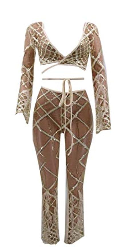 甲虫専門行進Keaac 女性2ピースセクシーな長袖は、クロップトップススキニーパンツパーティークラブウェアの衣装セットを通して参照してください