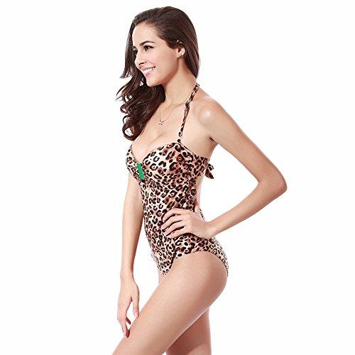 Uskincare Mujer Chica Bañador Traje de Baño de Una Pieza Escote en V Push Up Triángulo Bikinis 2-Leopard