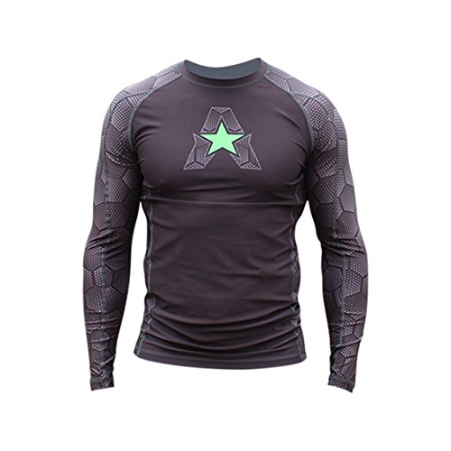 them Athletics HELO-X Long Sleeve Rash Guard Compression Shirt - BJJ, MMA, Muay Thai - Black Hex With Green - Large (Fighter Sports Long Sleeve)
