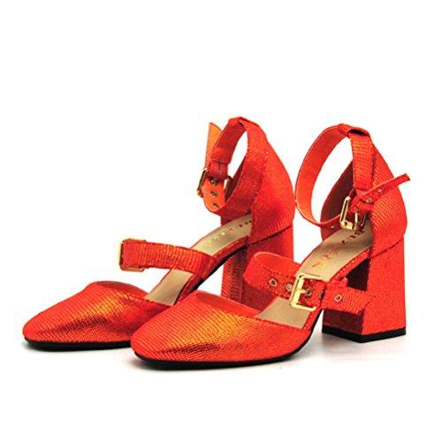 Tête Prendre Bottes Haut Chaussures des Métal Talon Pour Bride Motif red Talon Lizard Sangles Boucle Femmes Cent Sandales Ouverte Femmes Carré XIE Sandales Toe wFSq0UF