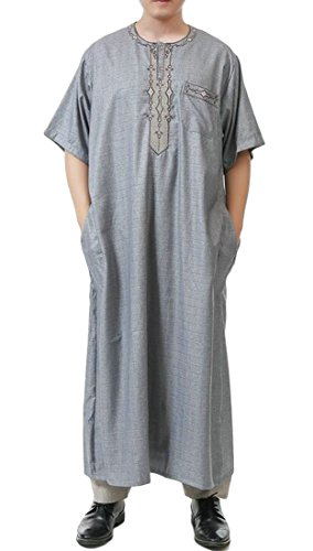 Pivaconis Mens Short Sleeve Plaid Cotton Linen Saudi Arab Robe Thobe Islamic Muslim Wear Grey L by Pivaconis
