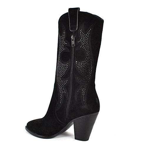 Black Ash amp; Black JOYCE Embroidered Studs Boots Suede 0wqZaW01