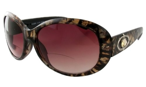 Calabria R432 Designer Bi-Focal Reading Sunglasses in Gold-Tortoise ; +3.50 by Calabria