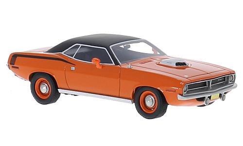 426 Hemi Cuda (Plymouth Cuda 426 Hemi, orange/matt black, 1970, Model Car, Ready-made, BoS-Models 1:43)