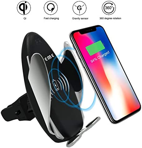 Peteme Wireless Car Charger Mount Automatic Clamping Gravity Sensor Car Phone Mount, 10W 7.5W Qi Fast Charging Air Vent Phone Holder Work with Phone XS XS Max XR X 8 8 Samsung S10 S10 and More