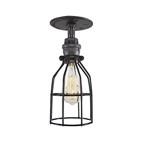 - West Ninth Vintage Iron Single Ceiling Farmhouse Light (Cage)