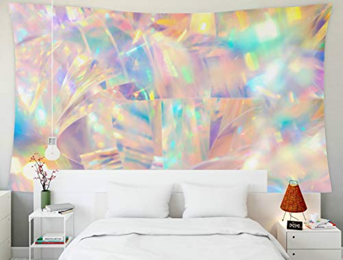 EMMTEEY Tapestry Wall Hanging, Tapestries Décor Living Room Bedroom for Home Inhouse by Printed 60x50 Inches for Radiant Cheerful Disco Fun Wallpaper Image of Festive Holographic foil Ribbon ()