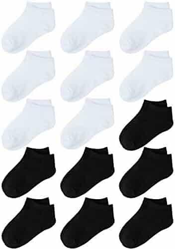 Coobey 15 Pack Kids' Half Cushion Low Cut Athletic Ankle Socks Boys Girls Ankle Socks