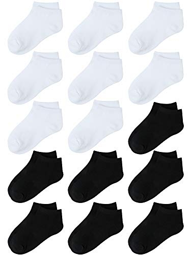 - Coobey 15 Pack Kids' Half Cushion Low Cut Athletic Ankle Socks Boys Girls Ankle Socks (White, Black, 6-8 Years)