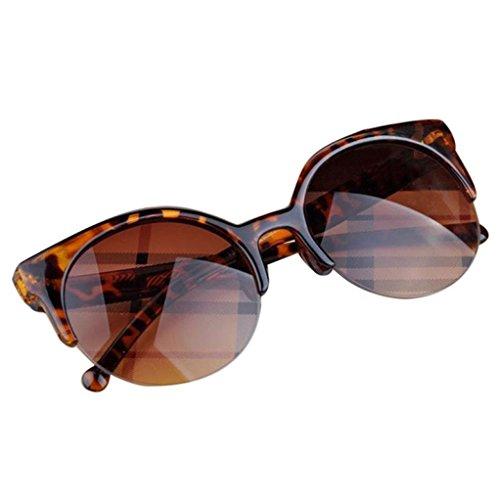 Alimao Fashion Vintage Sunglasses Retro Cat Eye Semi-Rim Round Sunglasses for Men Women Sun Glasses - Shows Glasses Under Clothes